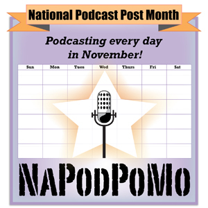 National Podcast Post Month logo